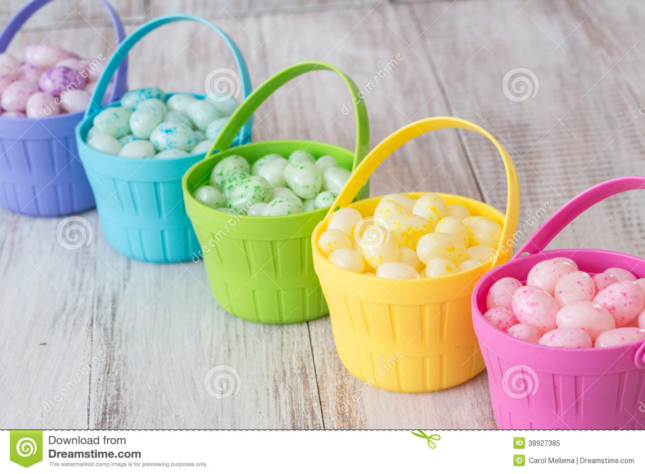 pastel easter jelly beans in colorful baskets stock image. Black Bedroom Furniture Sets. Home Design Ideas