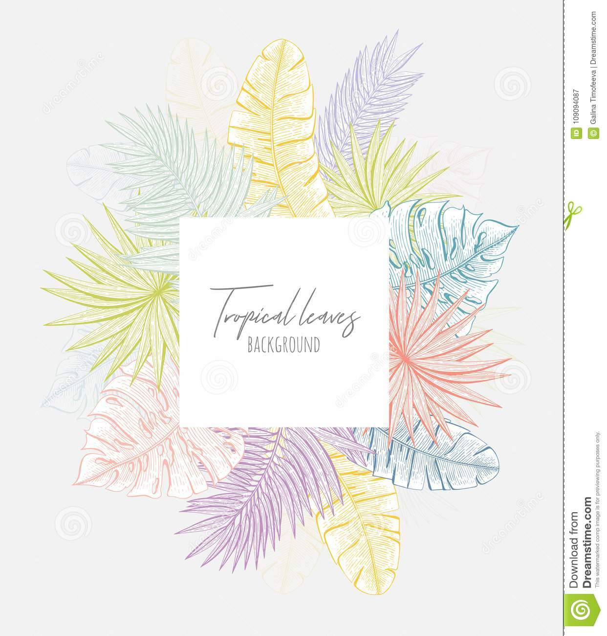 Pastel Floral Frame With Tropical Leaves Botanical Design Template