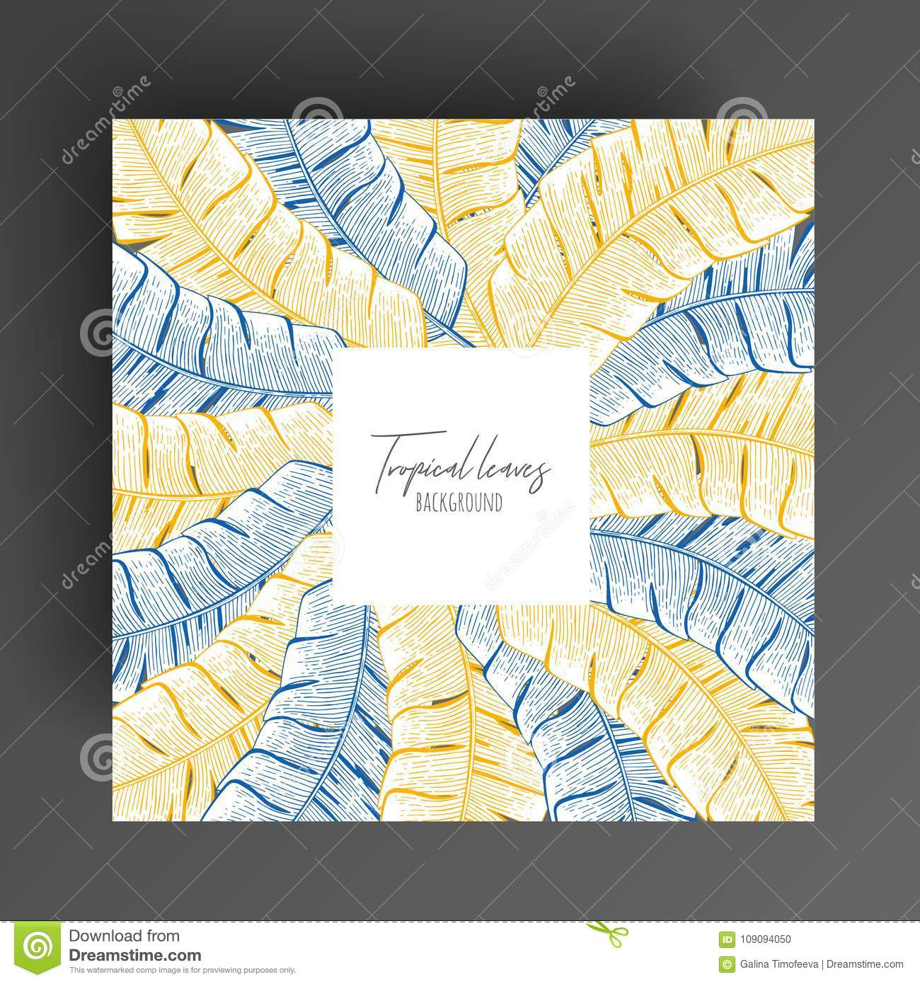 Pastel Floral Frame With Tropical Leaves. Botanical Design Template ...