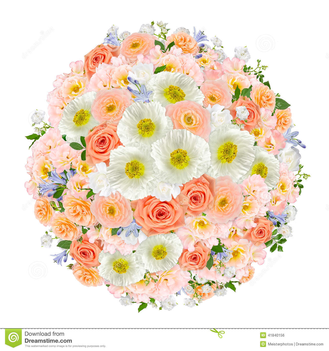 Pastel Flower Bouquet Collage Stock Image