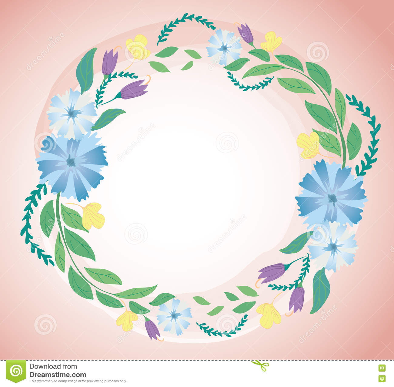 Pastel Flower Crown And Space Background Vector Stock Vector