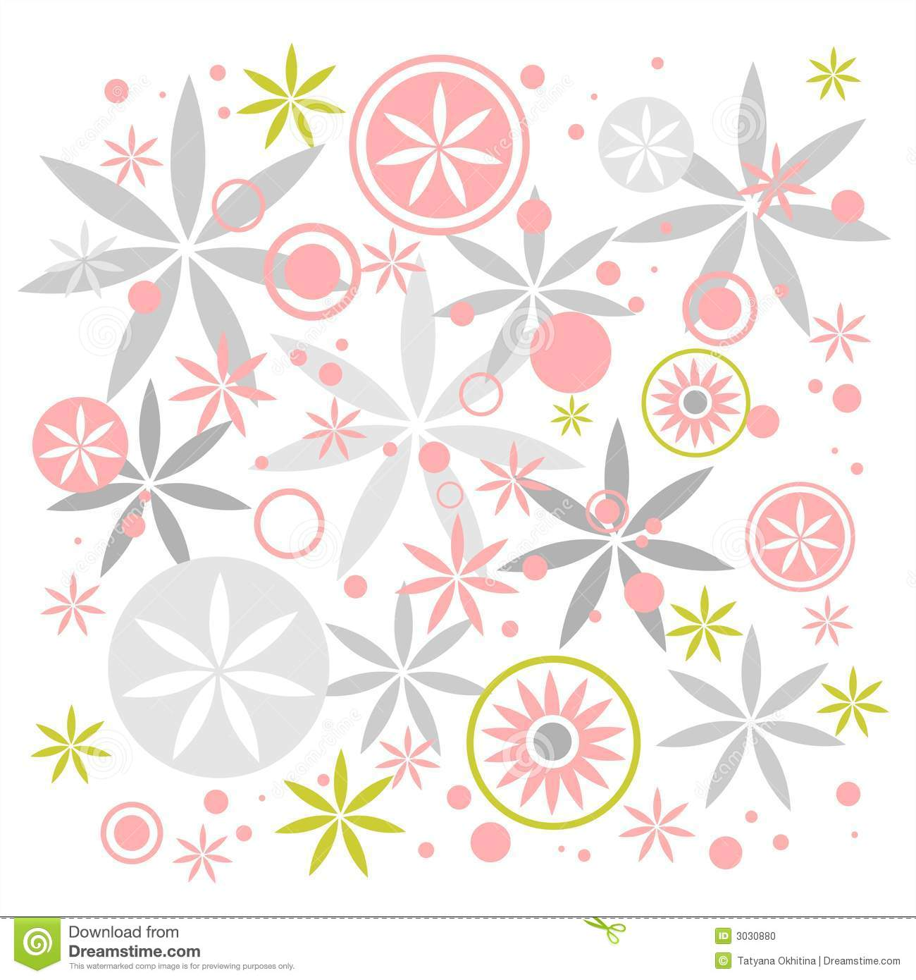 Abstract Pastel Flowers Composition On A White Background