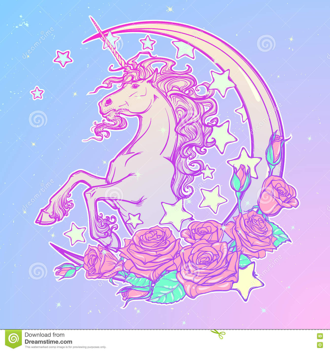 Pastel Goth Unicorn With Crescent Stars And Roses Greeting Card ... be84d89e9