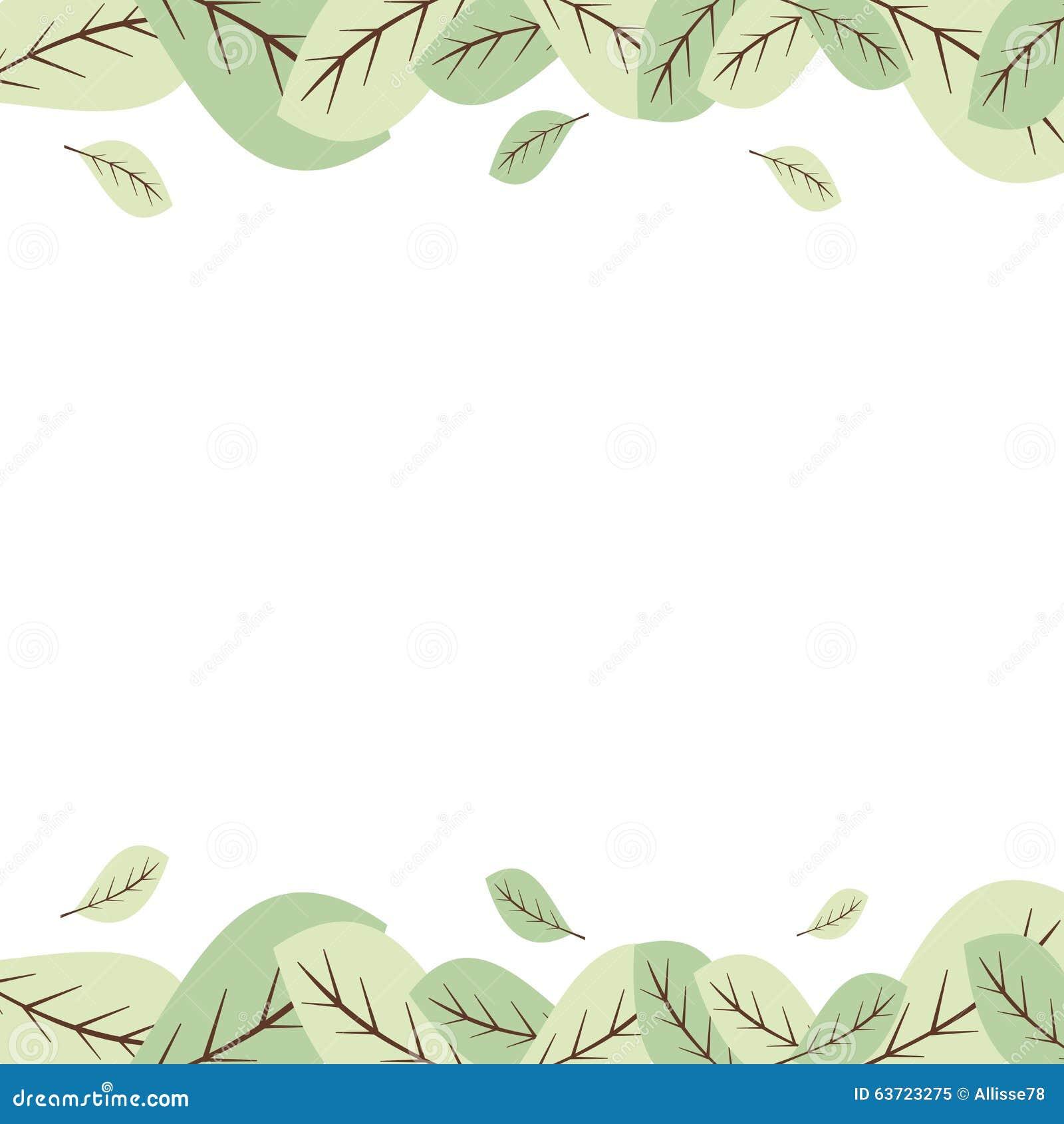 pastel green leaves frame border illustration stock vector