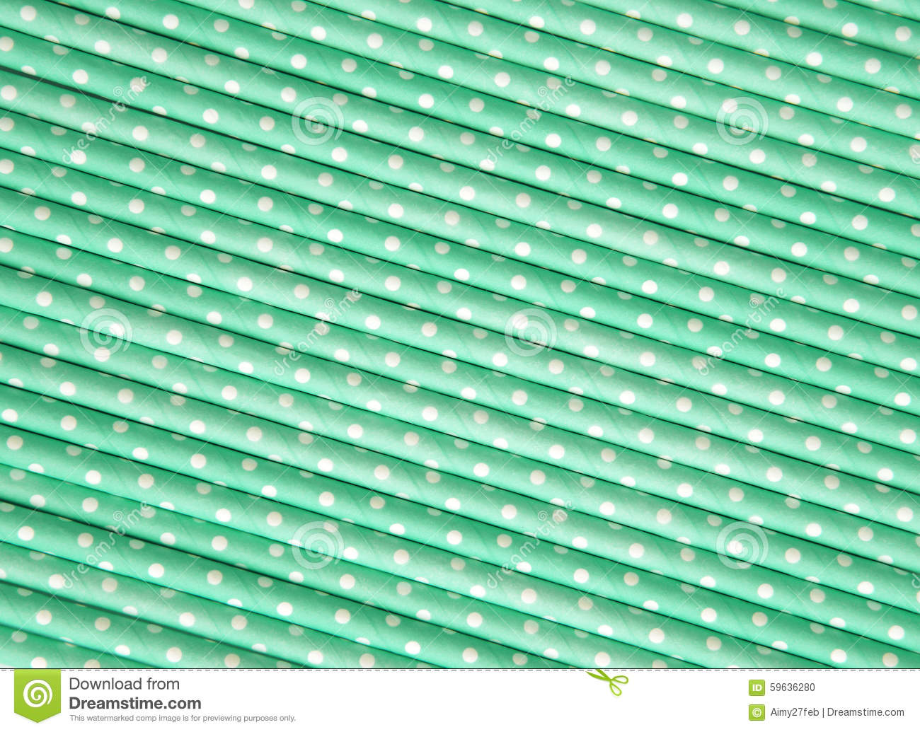 Pastel Green Polka Dot Paper Straw Background Stock Photo ...