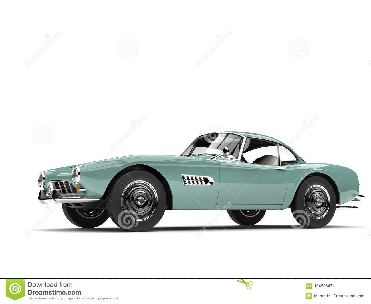 Pastel Green Vintage Sports Car Side View Stock Illustration Illustration Of Bumper Isolated 104506471
