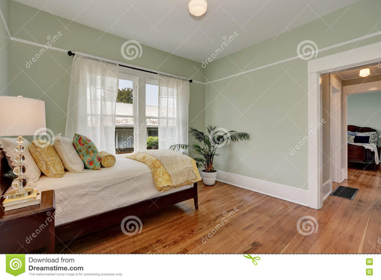 Kids Bedroom House pastel green walls in kids bedroom. house interior stock photo