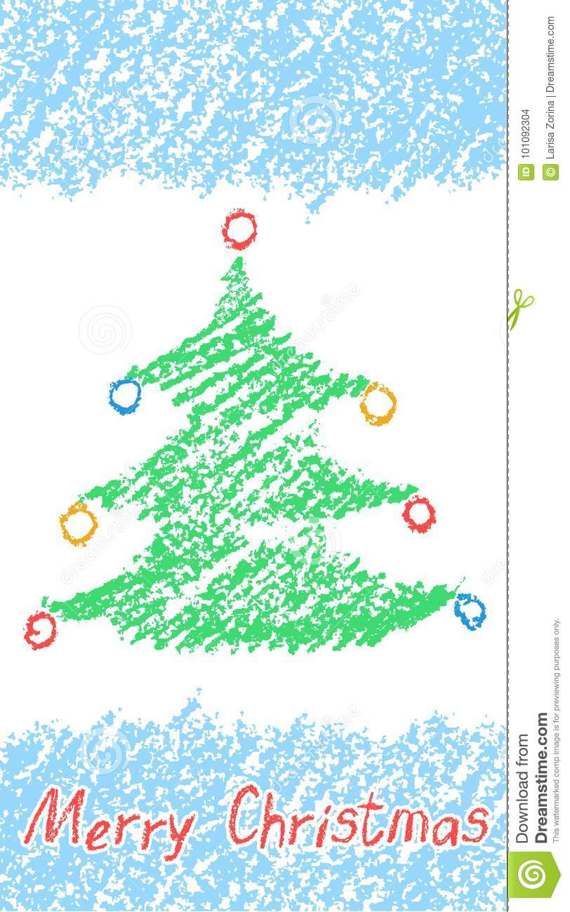 Crayon Child S Drawing Of Merry Christmas Tree With Lettering And