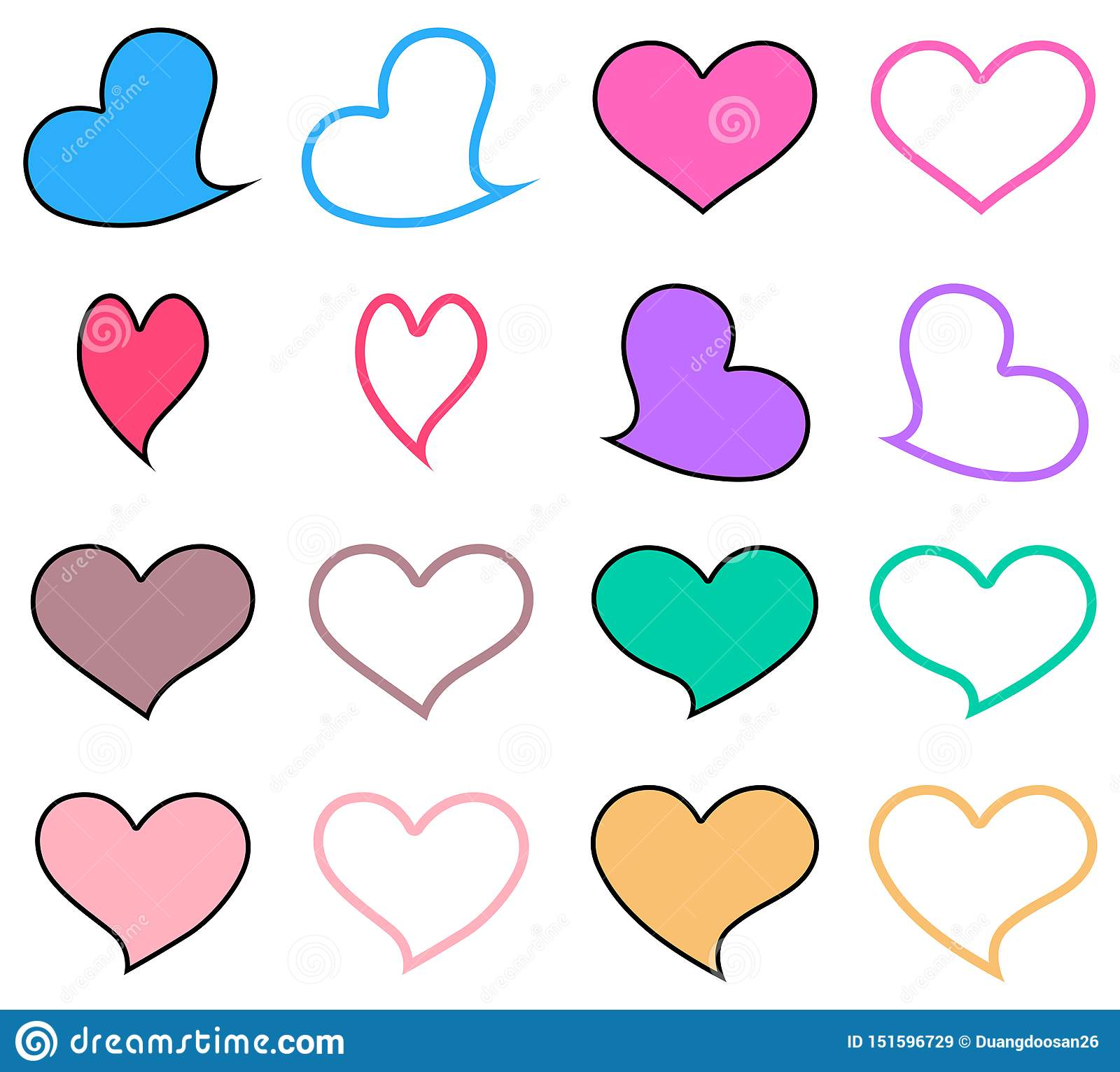 `Pastel heart icon set.Graphic design in the concept of love.cute love emblem.Vector love symbol for Valentine`s Day.`