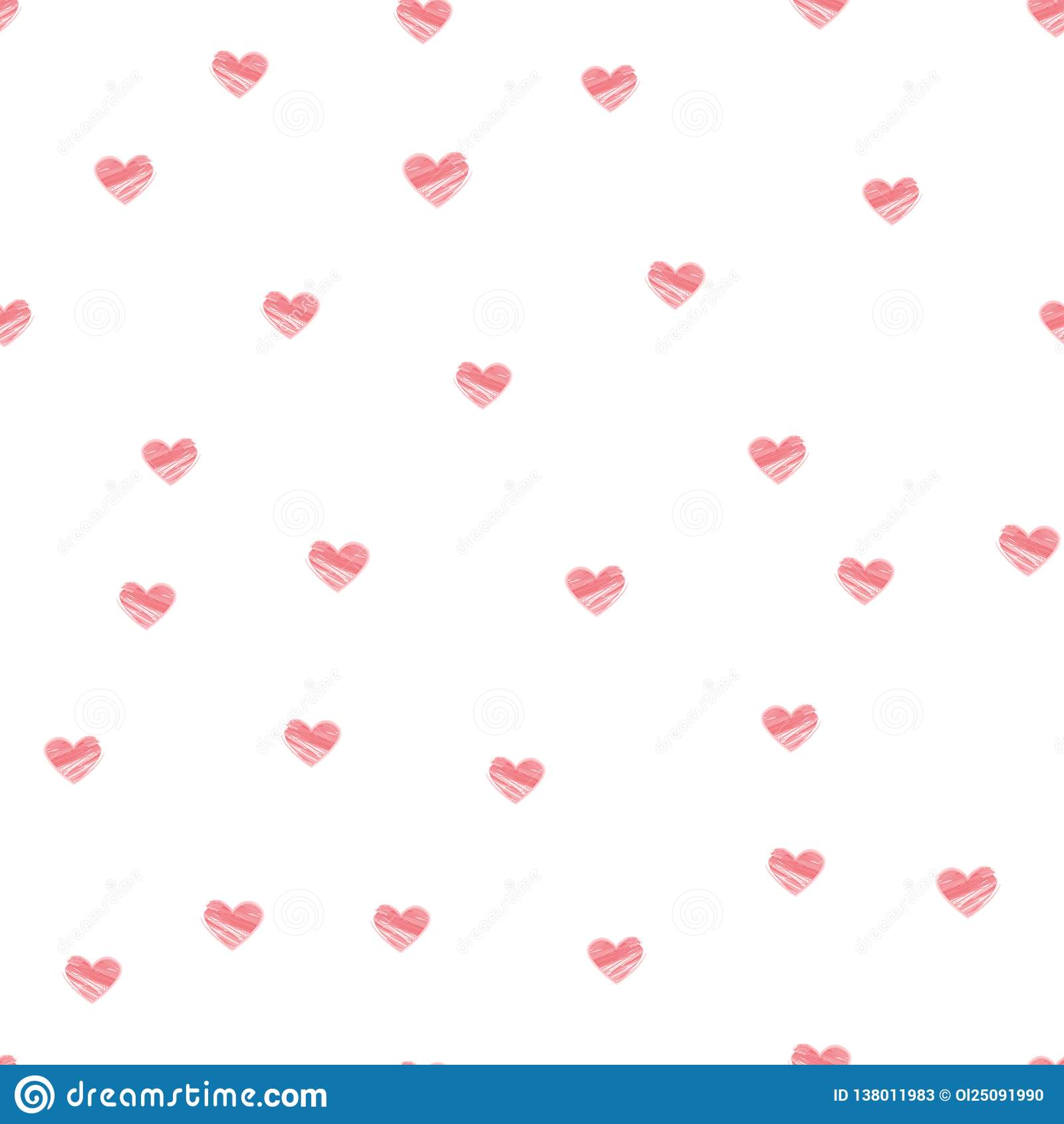 Pastel Heart Seamless Pattern on White Background - Vector