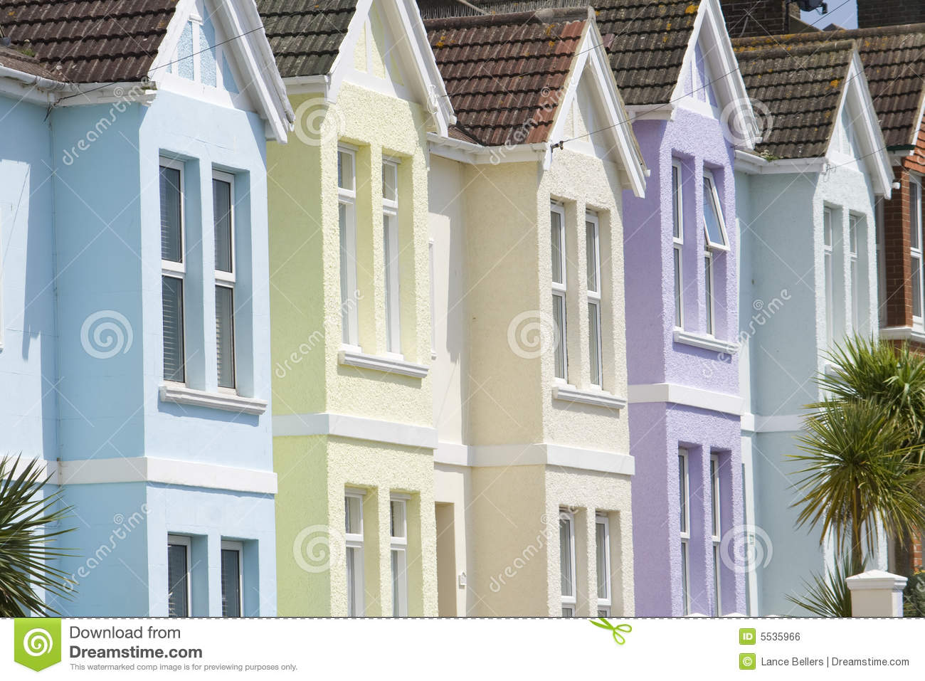 Pastel Houses Stock Photo Image Of Cream Roof Window