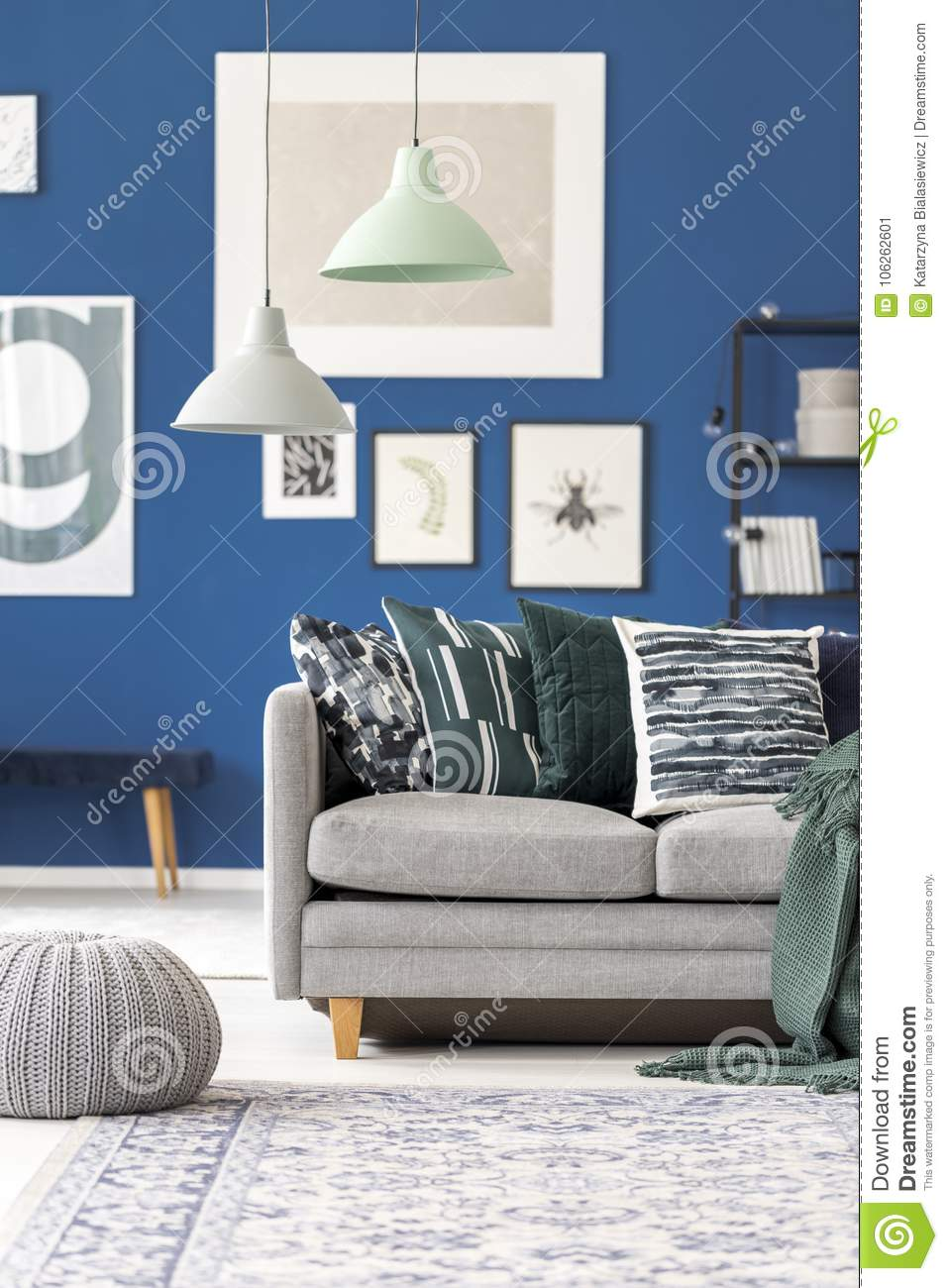 Cool Pastel Lamps Above Grey Couch Stock Image Image Of Blue Machost Co Dining Chair Design Ideas Machostcouk