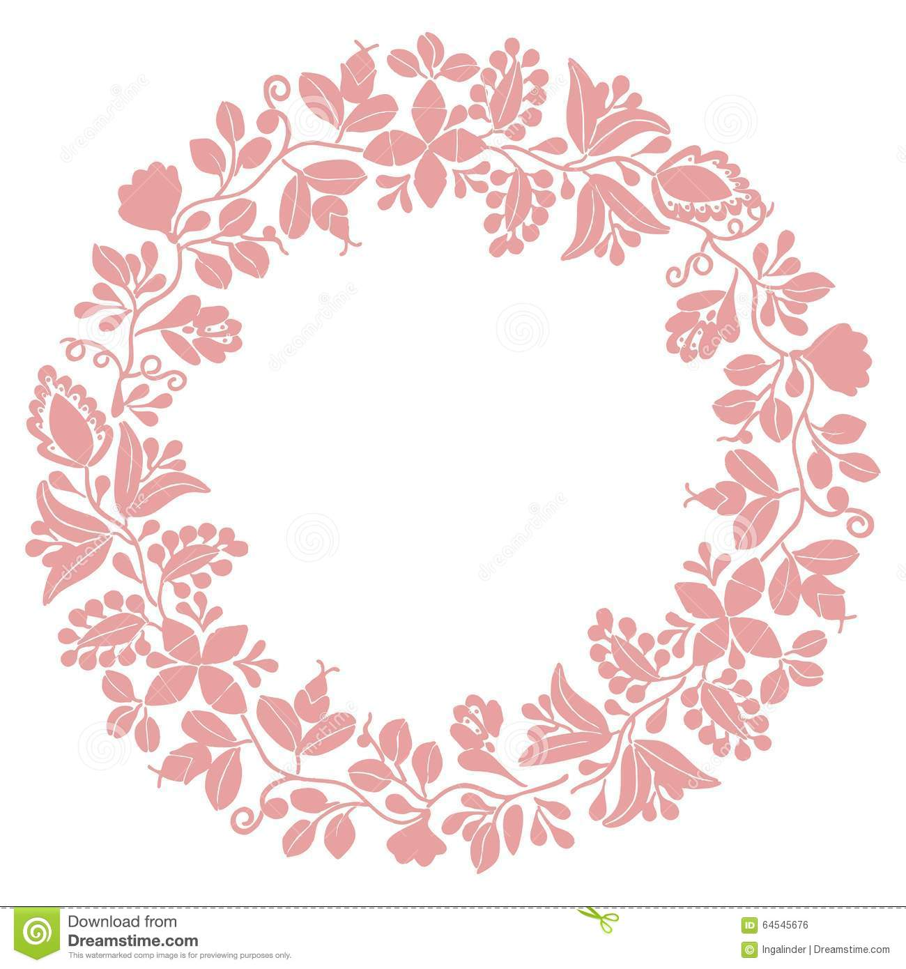 Vector round frame with pink flowers on white background in pastel - Background Frame Laurel Pink Vector White Wreath Graphic Picture Element Christmas Insignia Glory Round Sweet Flower