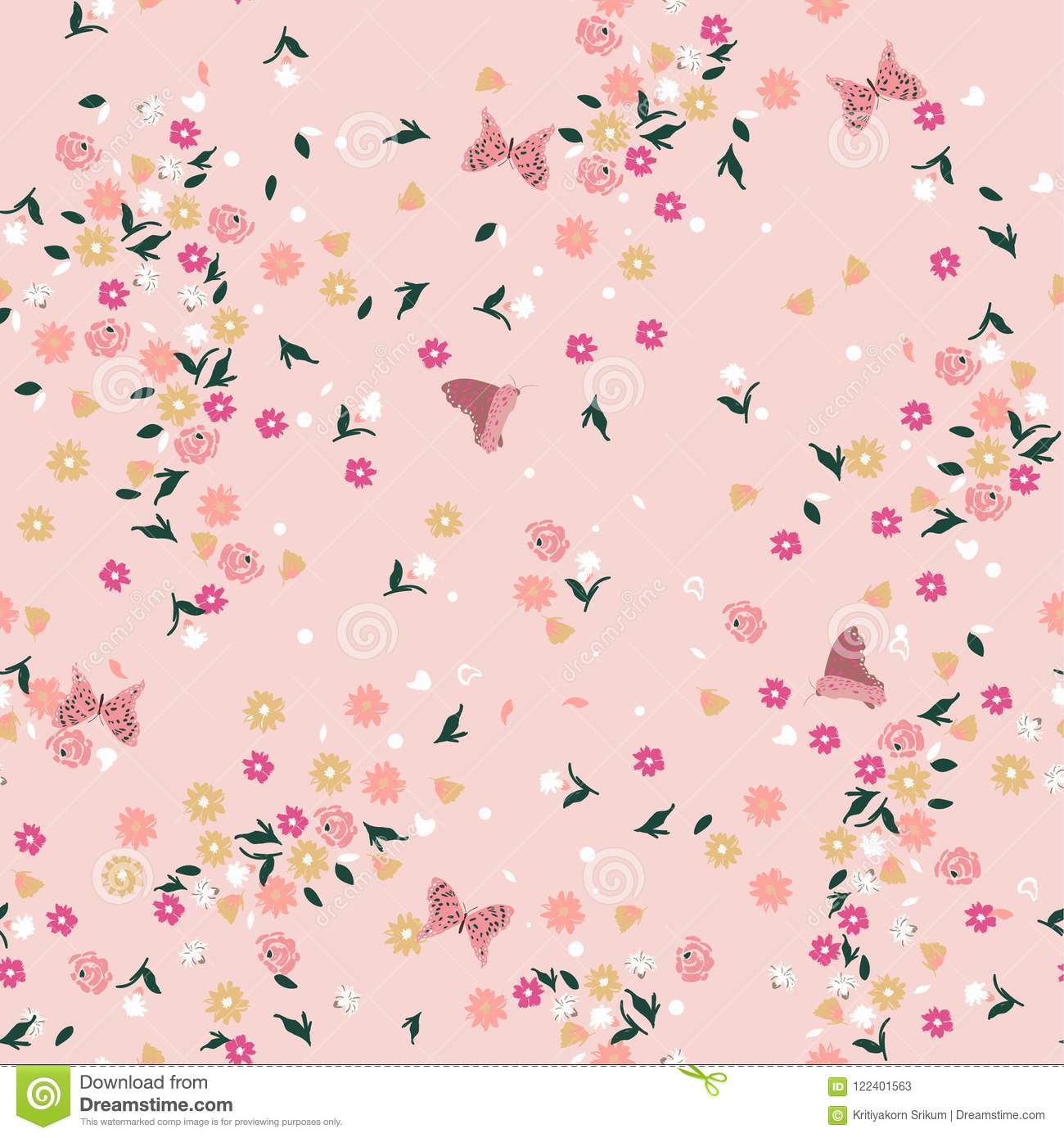 Pastel liberty Seamless floral pattern. Background in small colo