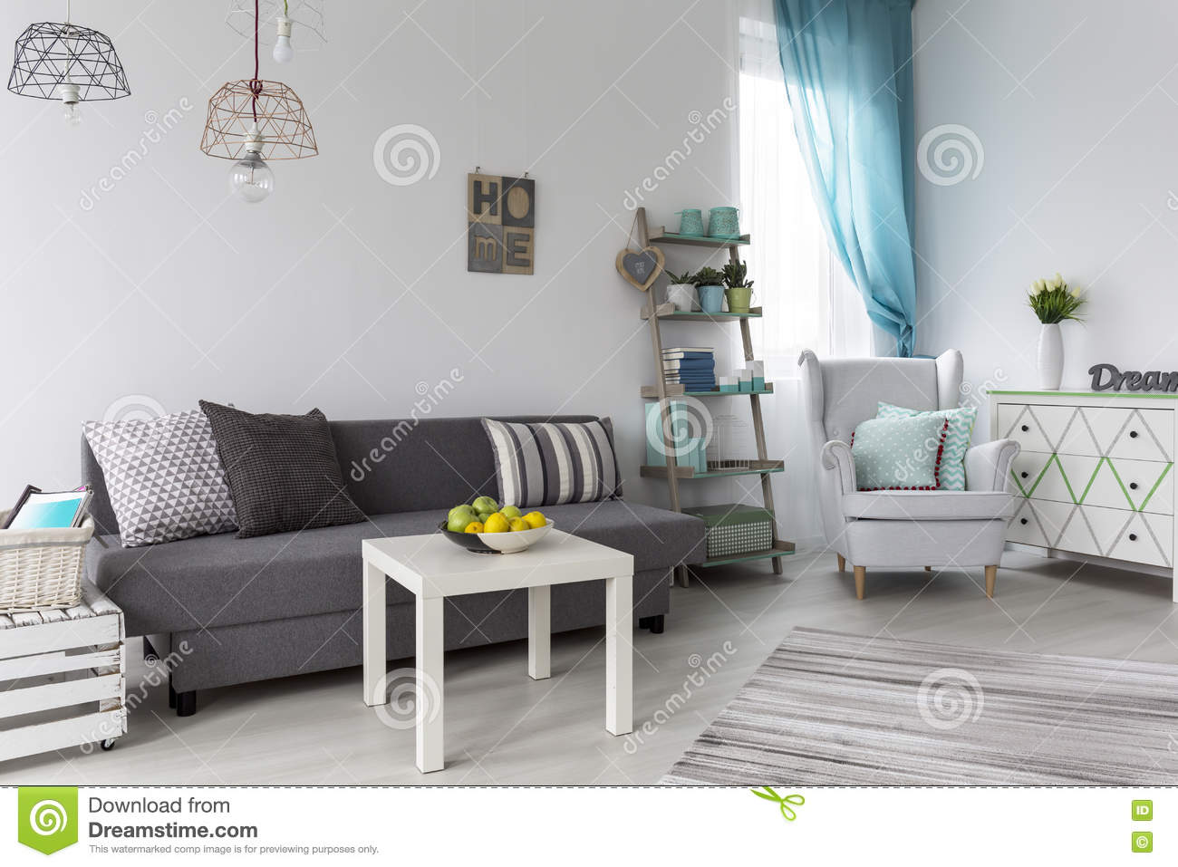Download Pastel Living Room Interior Stock Photo   Image Of Bright, Modern:  79379338