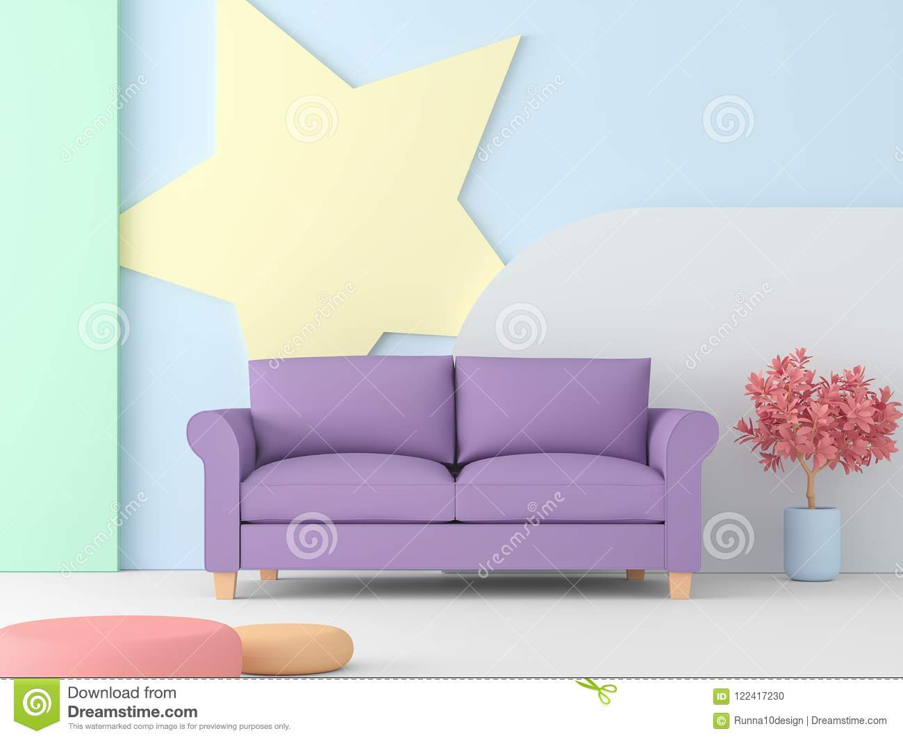 Pastel Living Room With Purple Sofa 3d Render