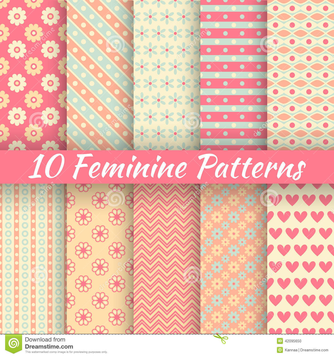 Pastel loving wedding vector seamless patterns