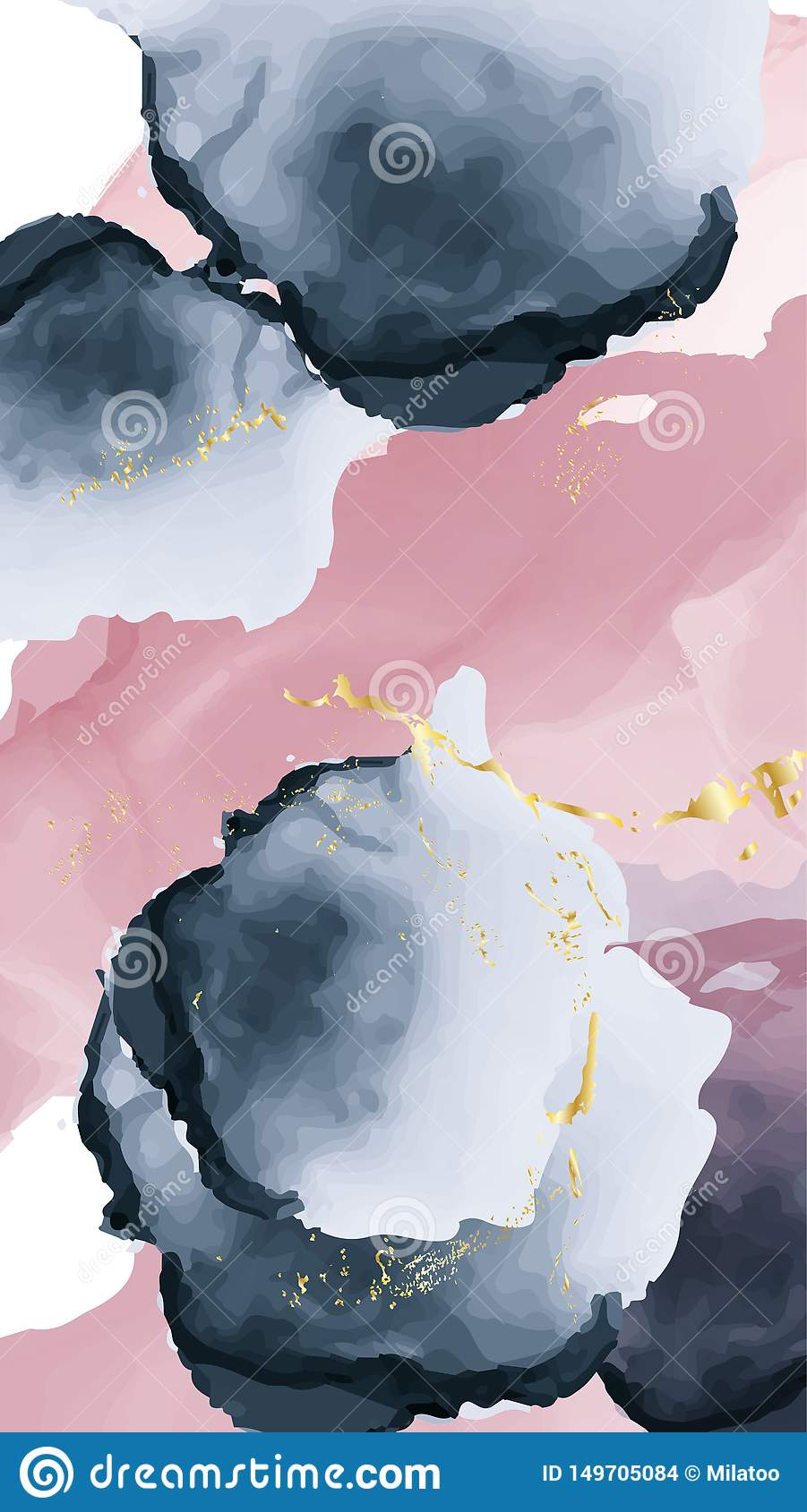 Pastel Navy Pink Gold Old Texture Alcohol Ink Design Trendy