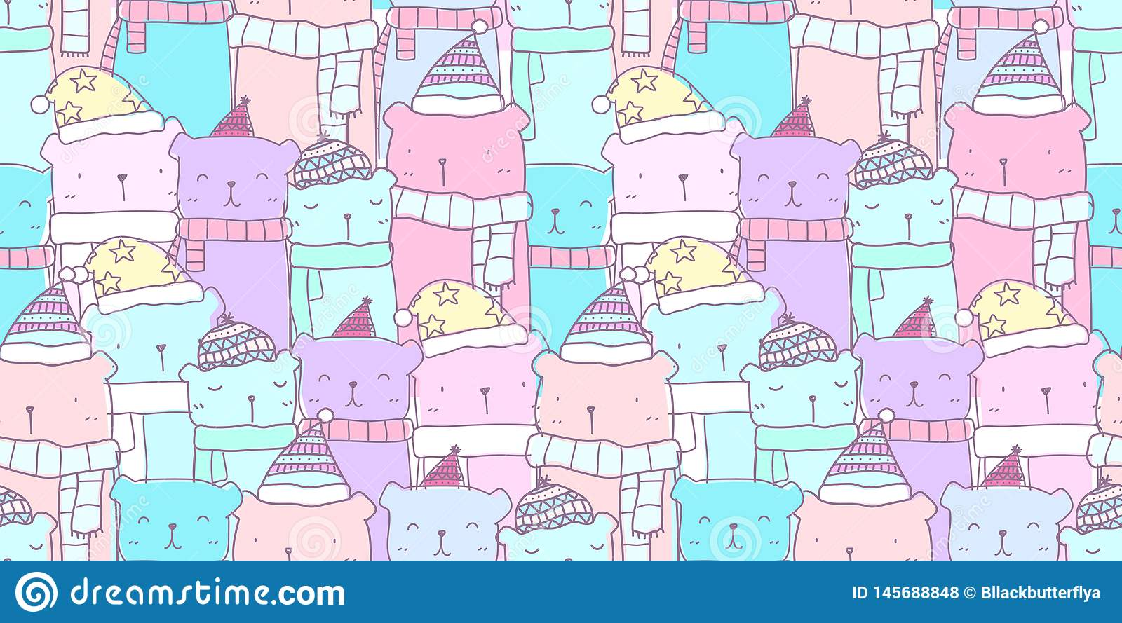 pastel pattern seamless hand drawn cute bear family kawaii background kid color fabric baby wallpaper nursery wrapping 145688848
