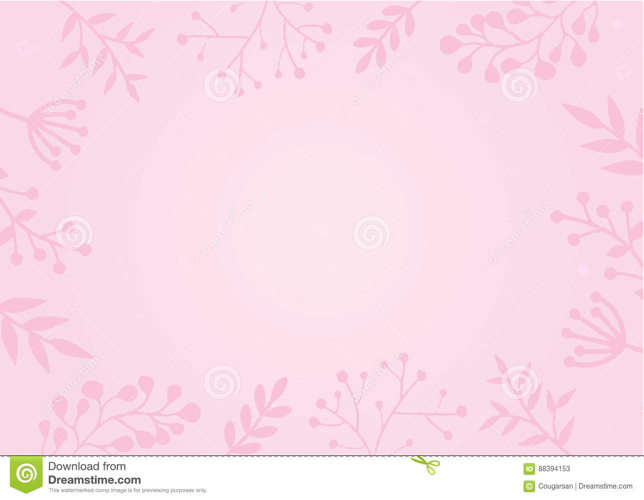 Pastel Pink Color Background With Flower Border Stock Vector