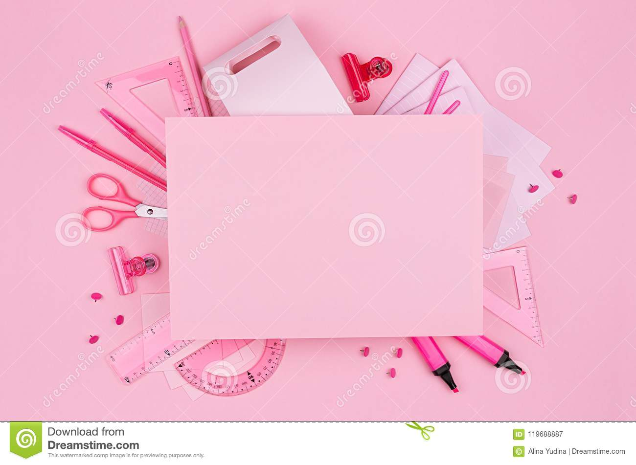 Pastel pink color office blank paper and stationery set on pink background, concept art for advertising, business, design.
