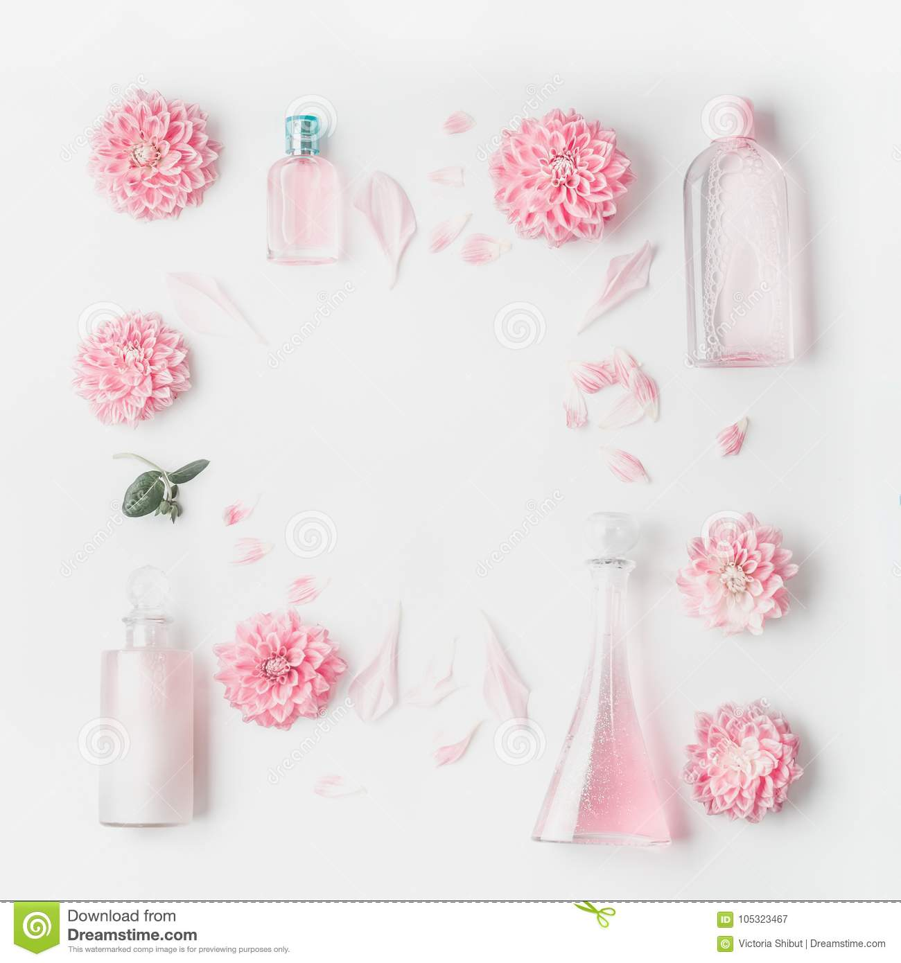 Pastel Pink Cosmetic Product Setting Flat Lay With Flowers On White ...