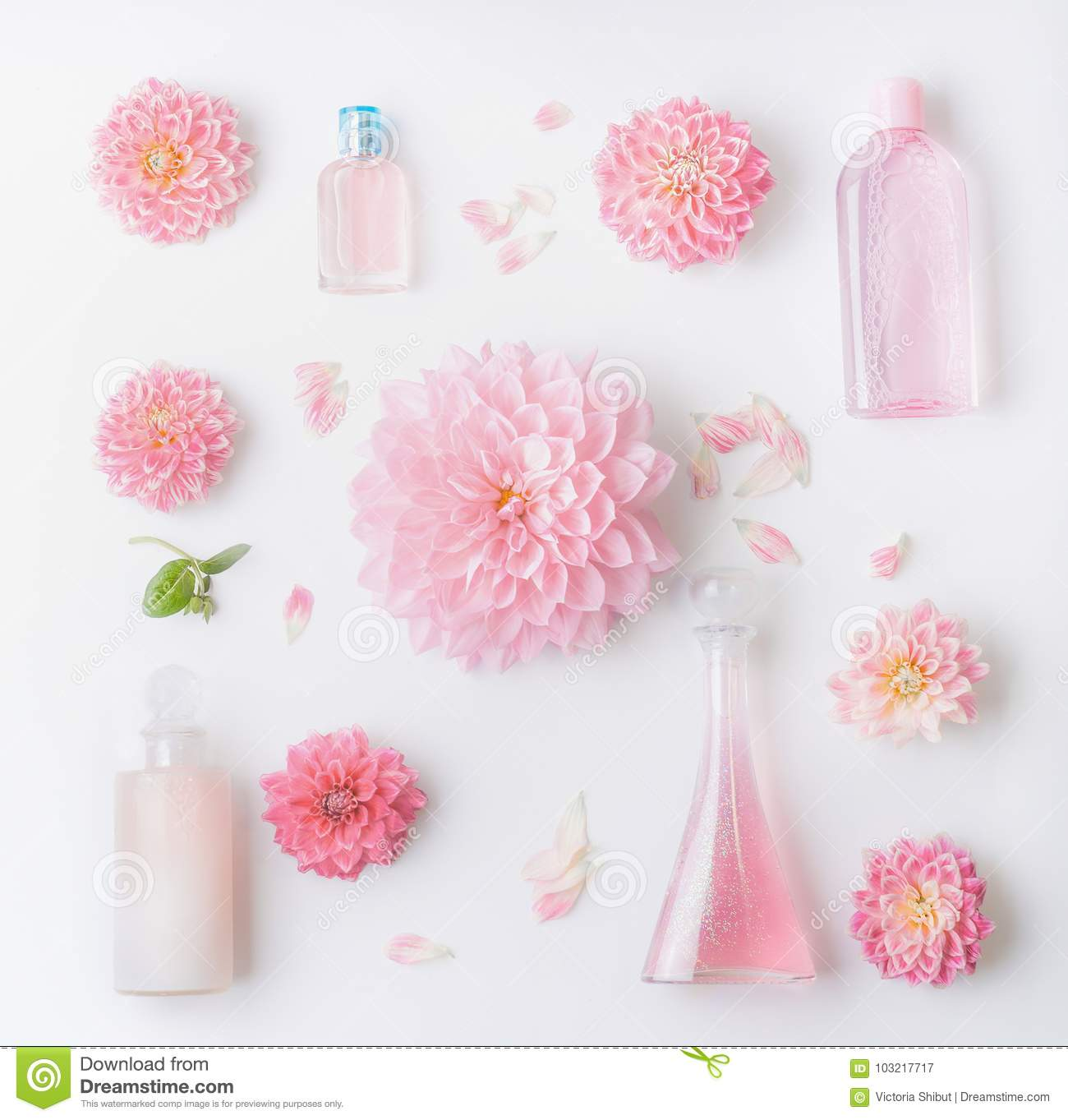 Pastel Pink Natural Cosmetic Products Setting Flat Lay With Pretty