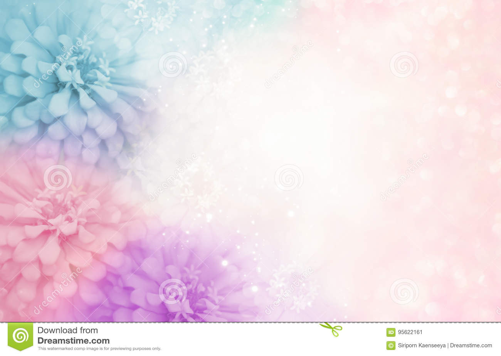 Pastel Pink Purple Blue Flower Frame On Soft Bokeh Vintage