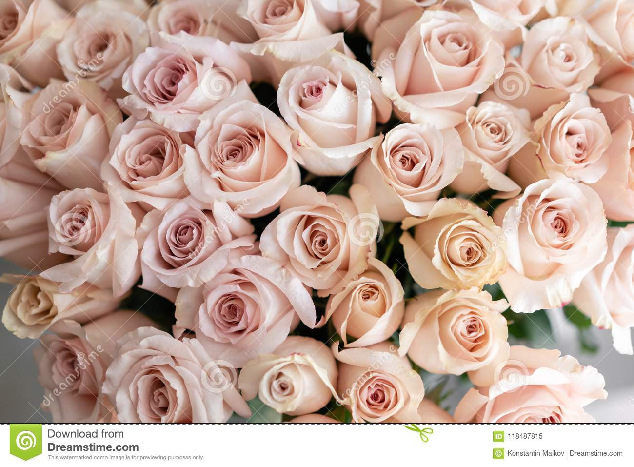 Pastel Pink Roses. Bouquet Of Beautiful Flowers On Wooden Table ...