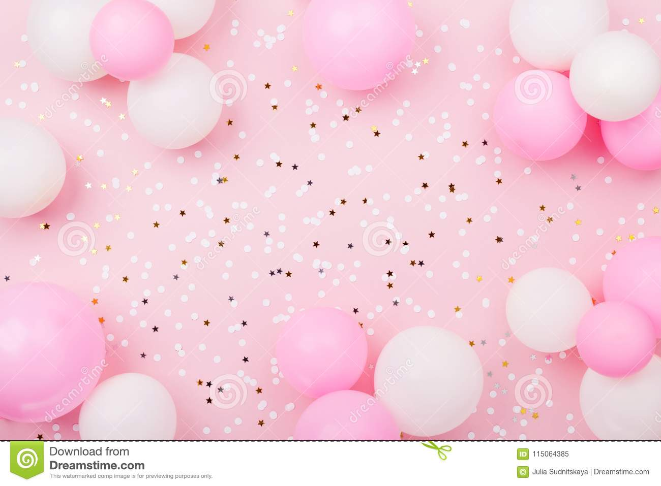Pastel Pink Table With Frame From Balloons And Confetti For Birthday Top View Flat Lay Composition