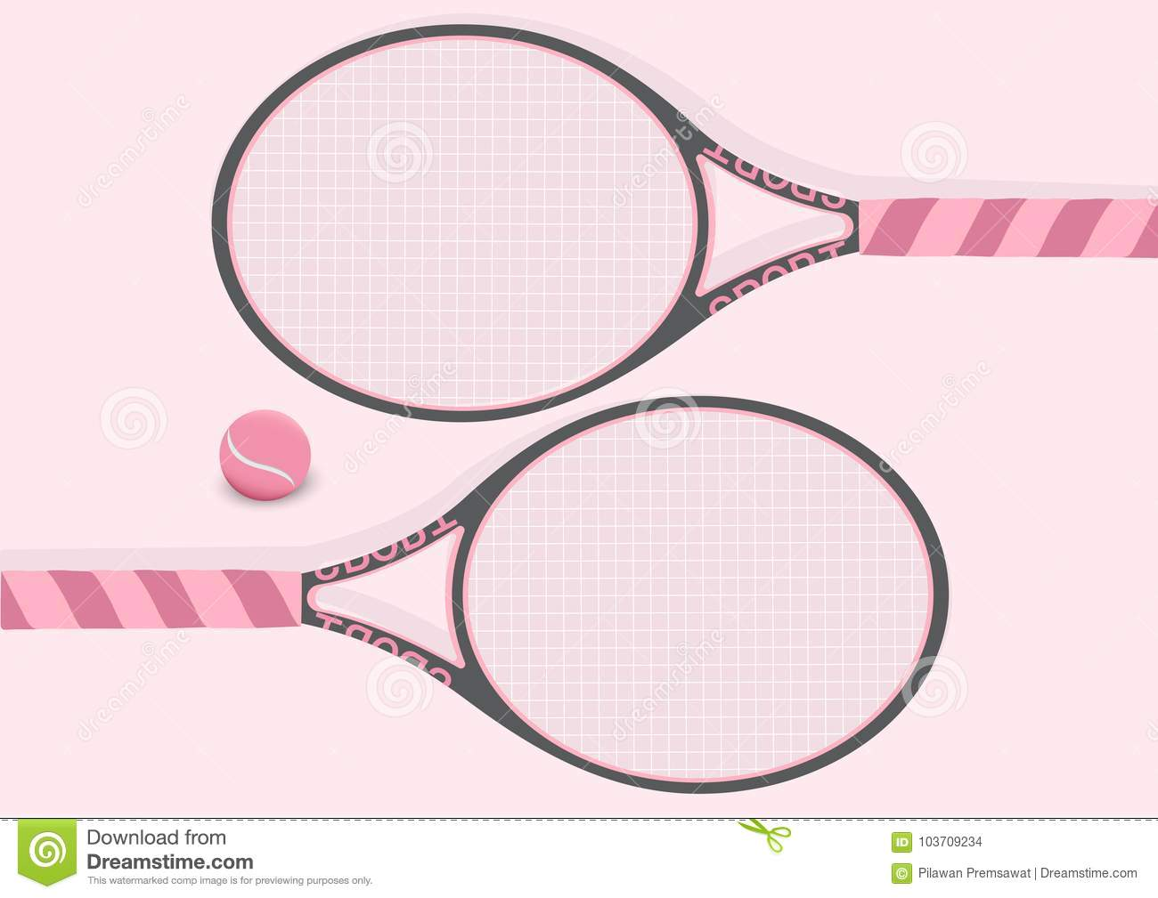 Pastel Pink Tennis Racket And Tennis Ball Background Illustration