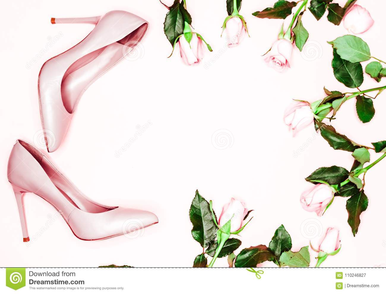 99828b63ed7 Pastel pink women high heel shoes on pink background. Flat lay, top view  trendy