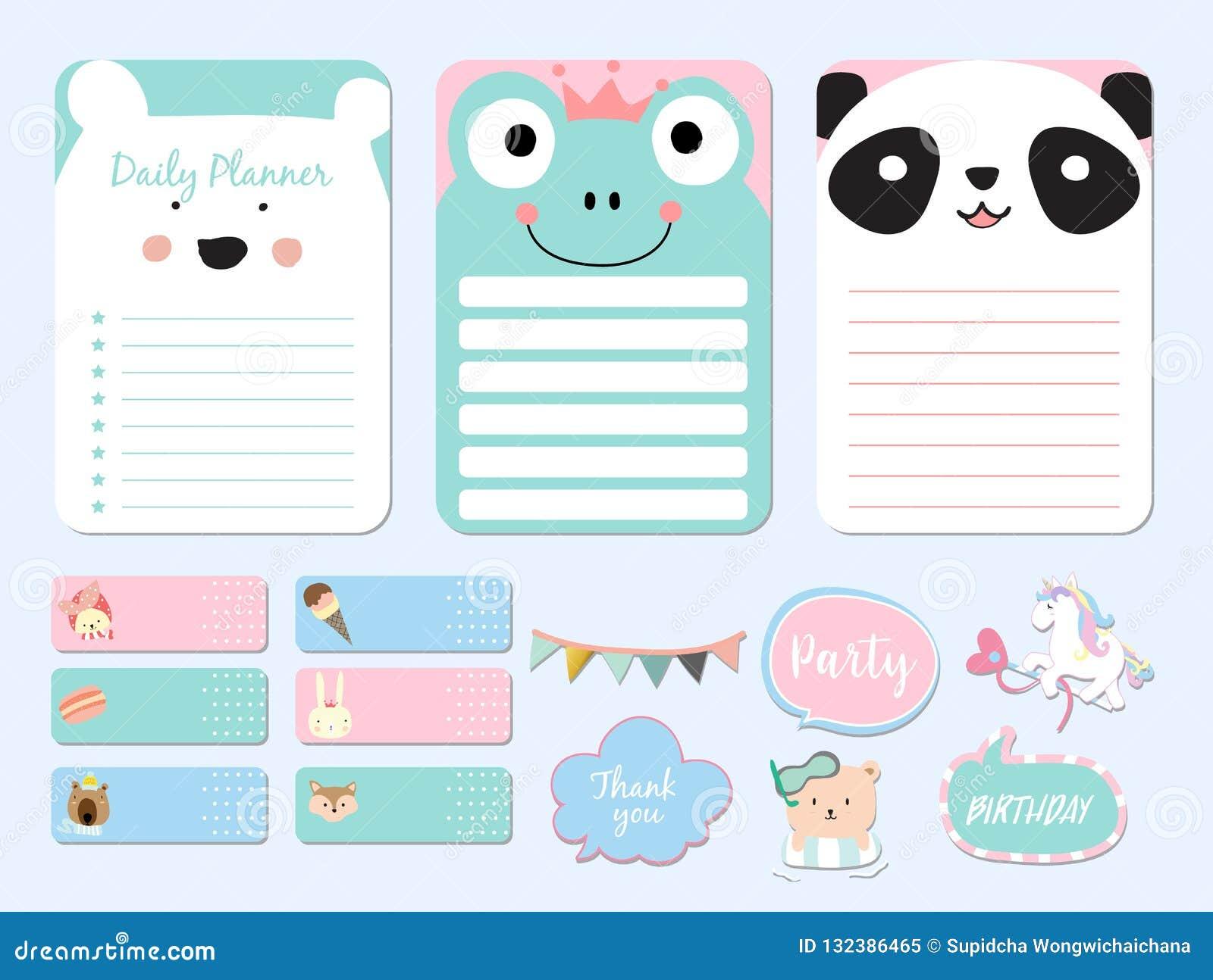 Pastel Printable With Bear, Panda, Fox, Unicorn, Ice Cream In Funny