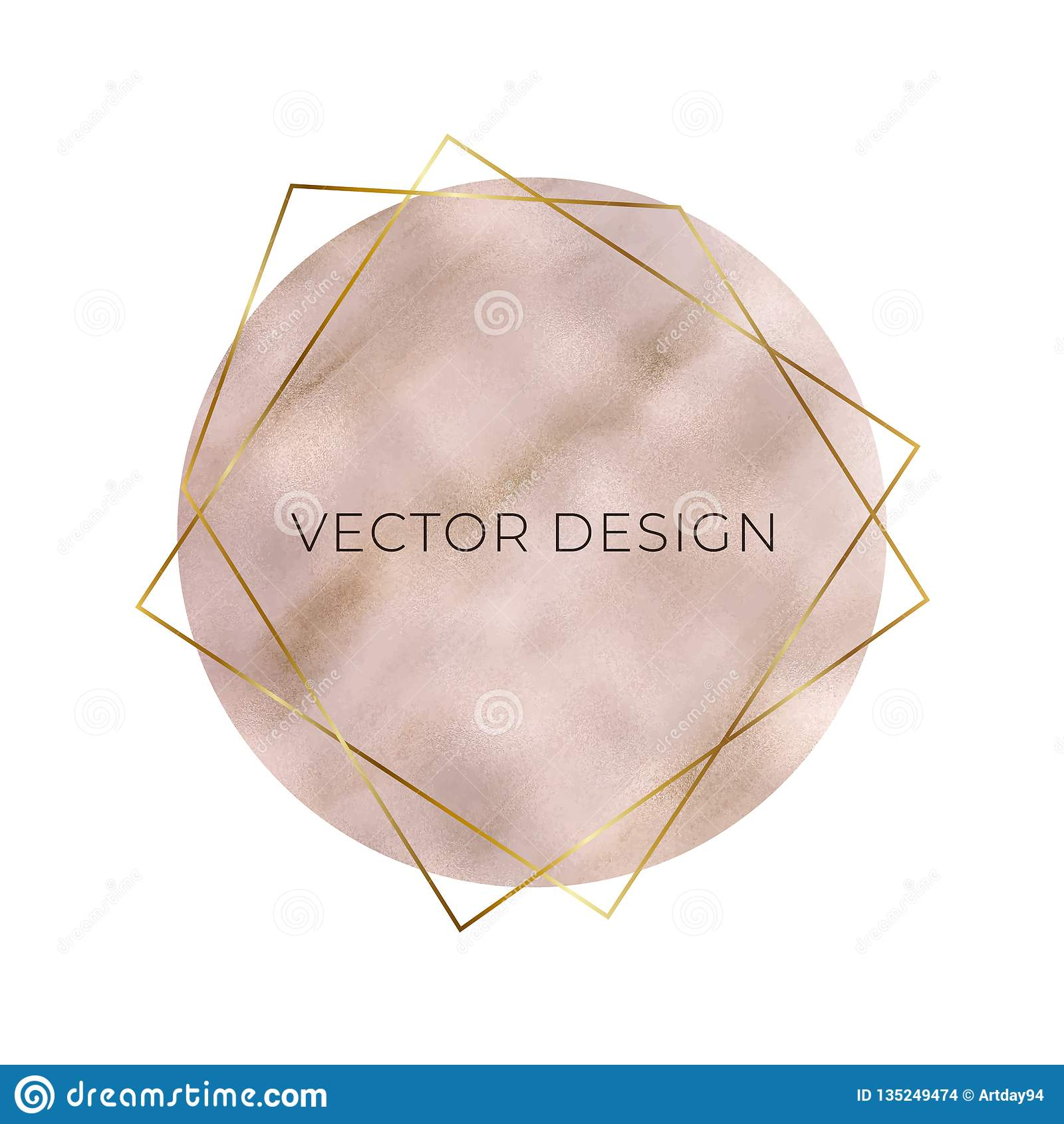 Pastel róży złocista folia z geometrycznymi złotymi linii ramami Fasonuje projekt dla sztandaru, logo, karta, ślubny zaproszenie,