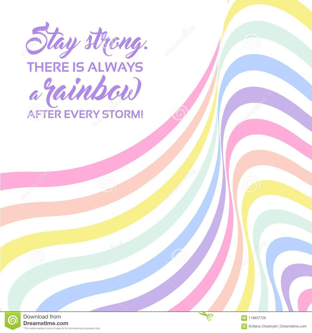 Pastel Rainbow Background Inspirational Quote Lettering Stay