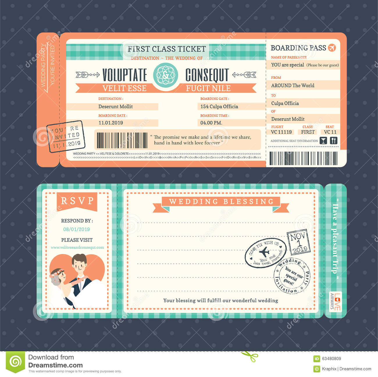 Pastel Retro Boarding Pass Wedding Invitation Template Stock Vector