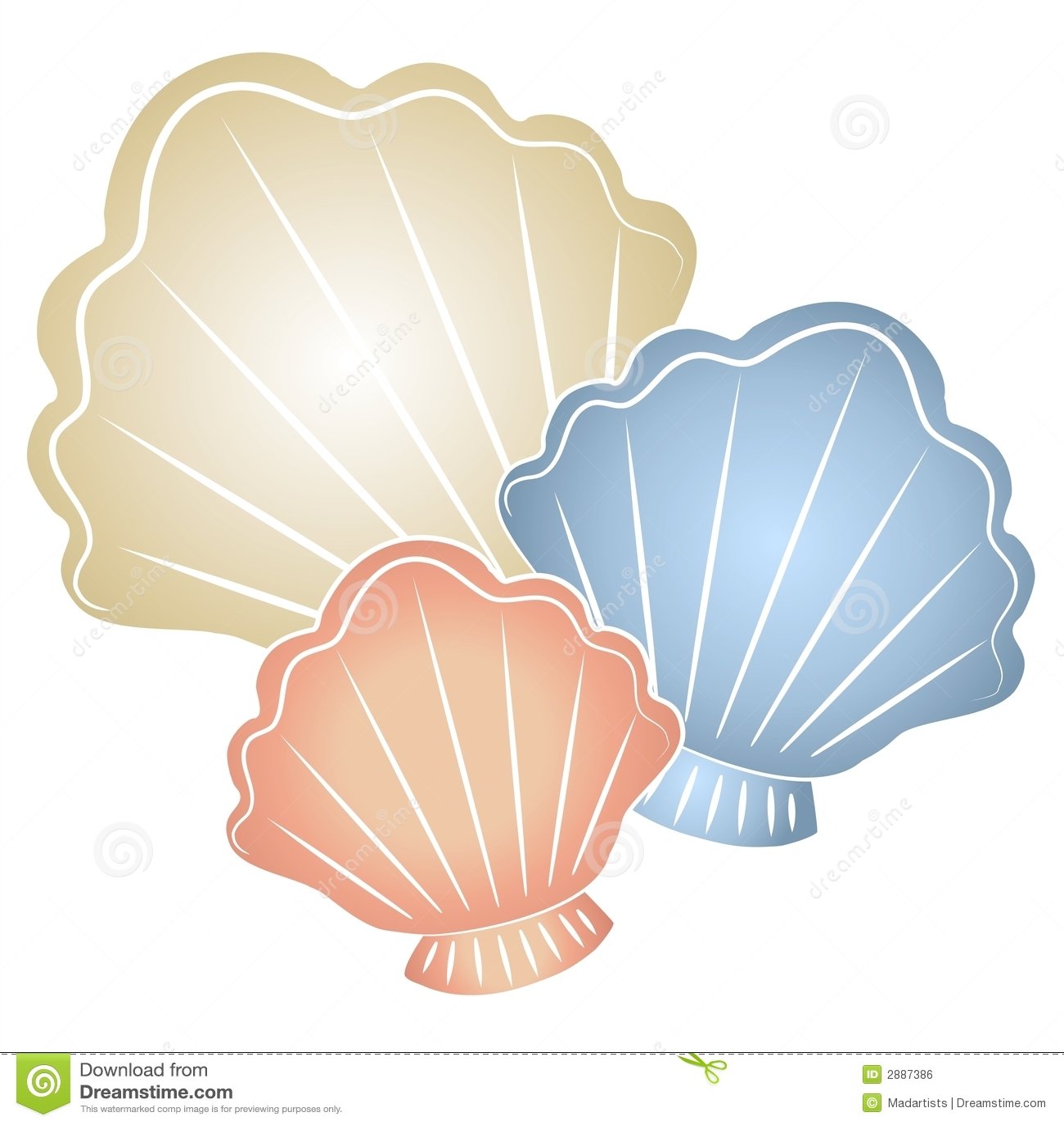 clip art illustration of pastel colored seashells in light tan, blue ...