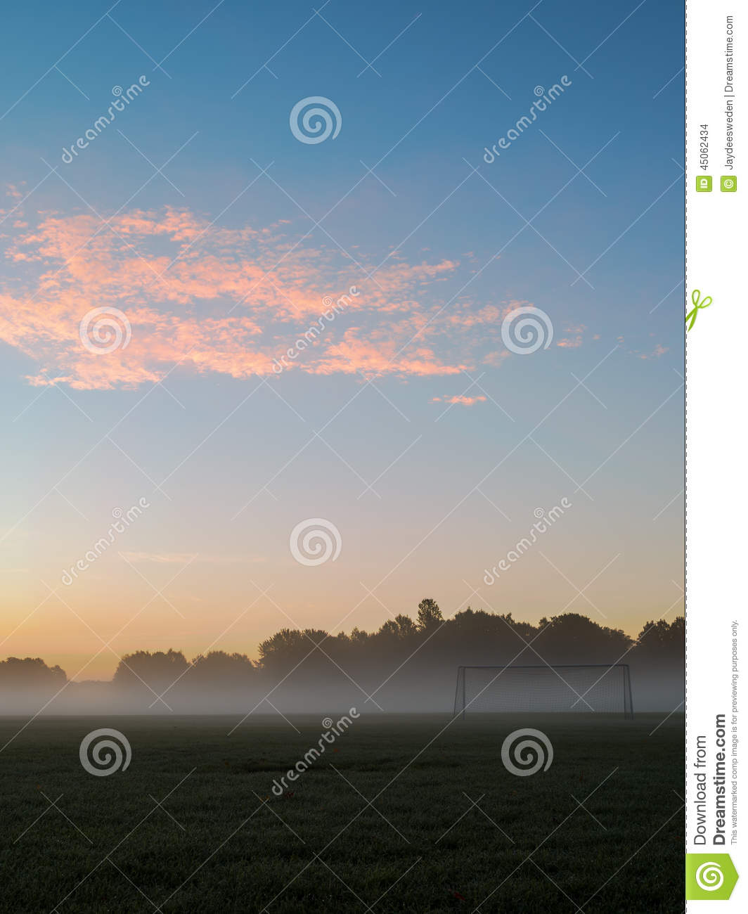 Pastel Sunrise Over Soccer Goal Stock Photo Image Of