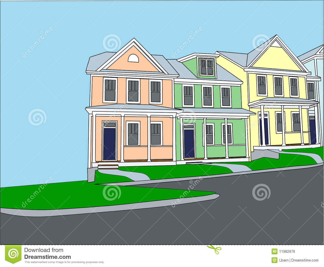 pastel terraced townhouses royalty free stock image