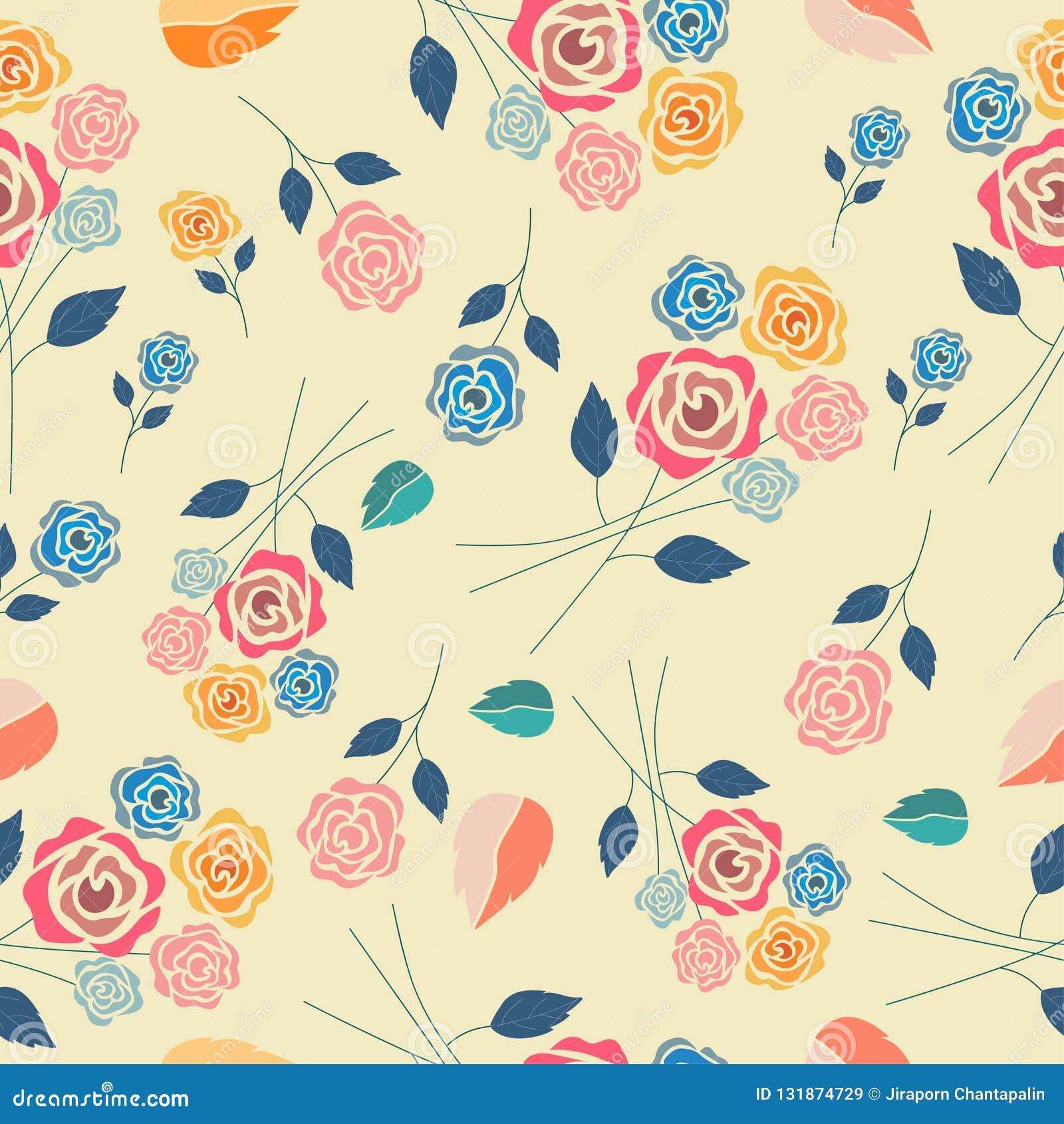 Pastel vintage rose seamless pattern