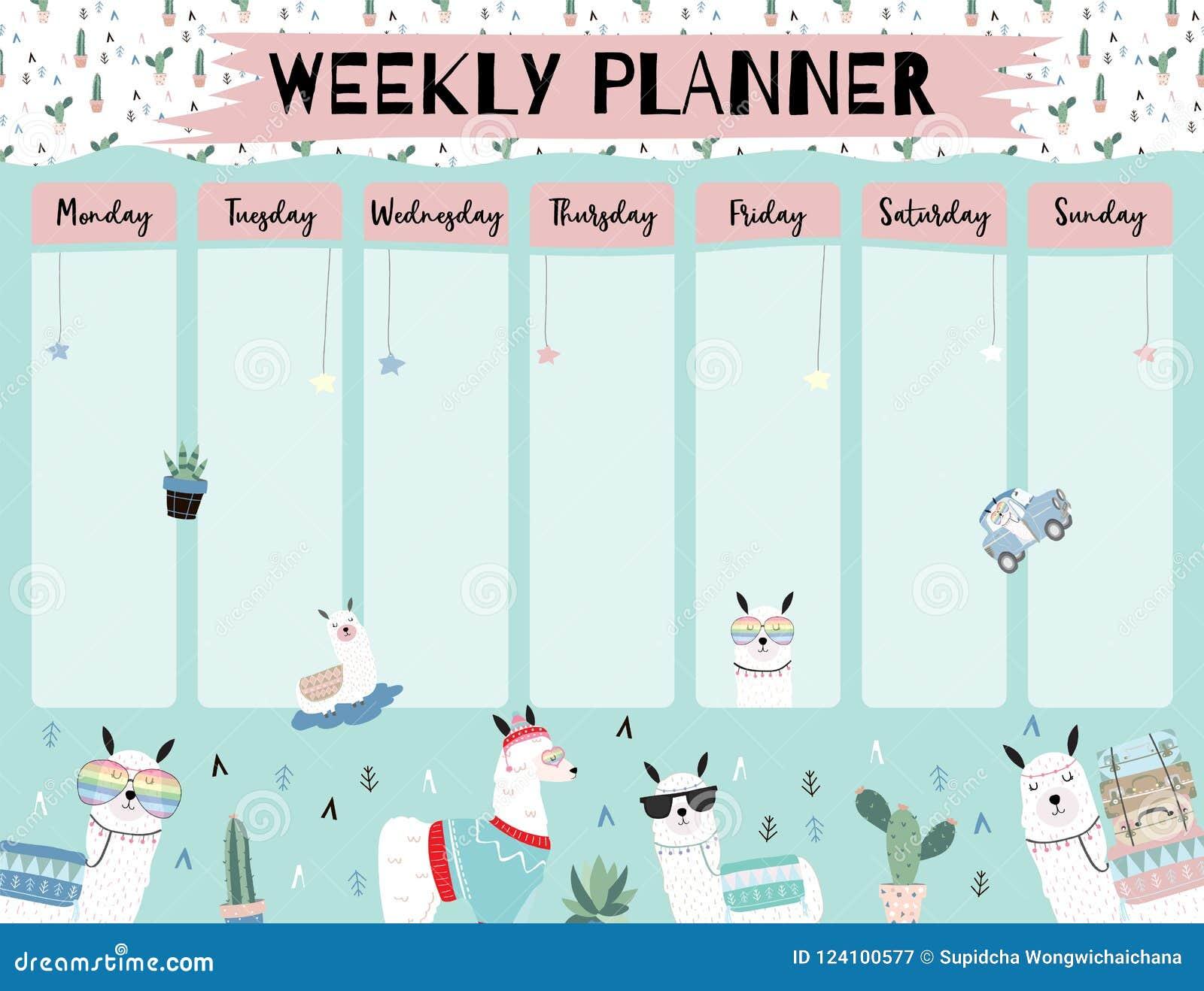 Pastel Weekly Calendar Planner With Llama Alpaca Cactus
