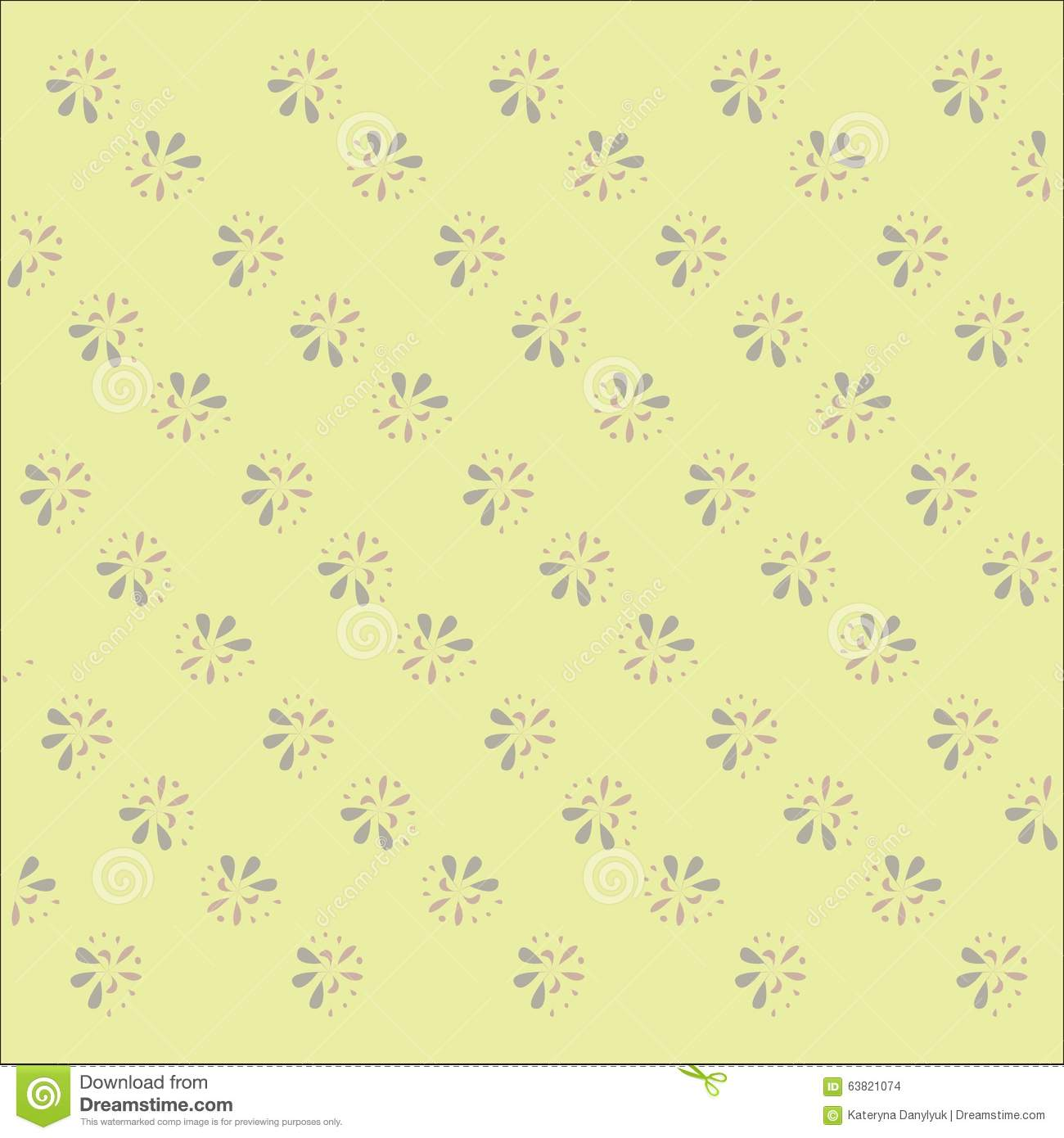 Pastel Yellow Beige Background With A Light Floral