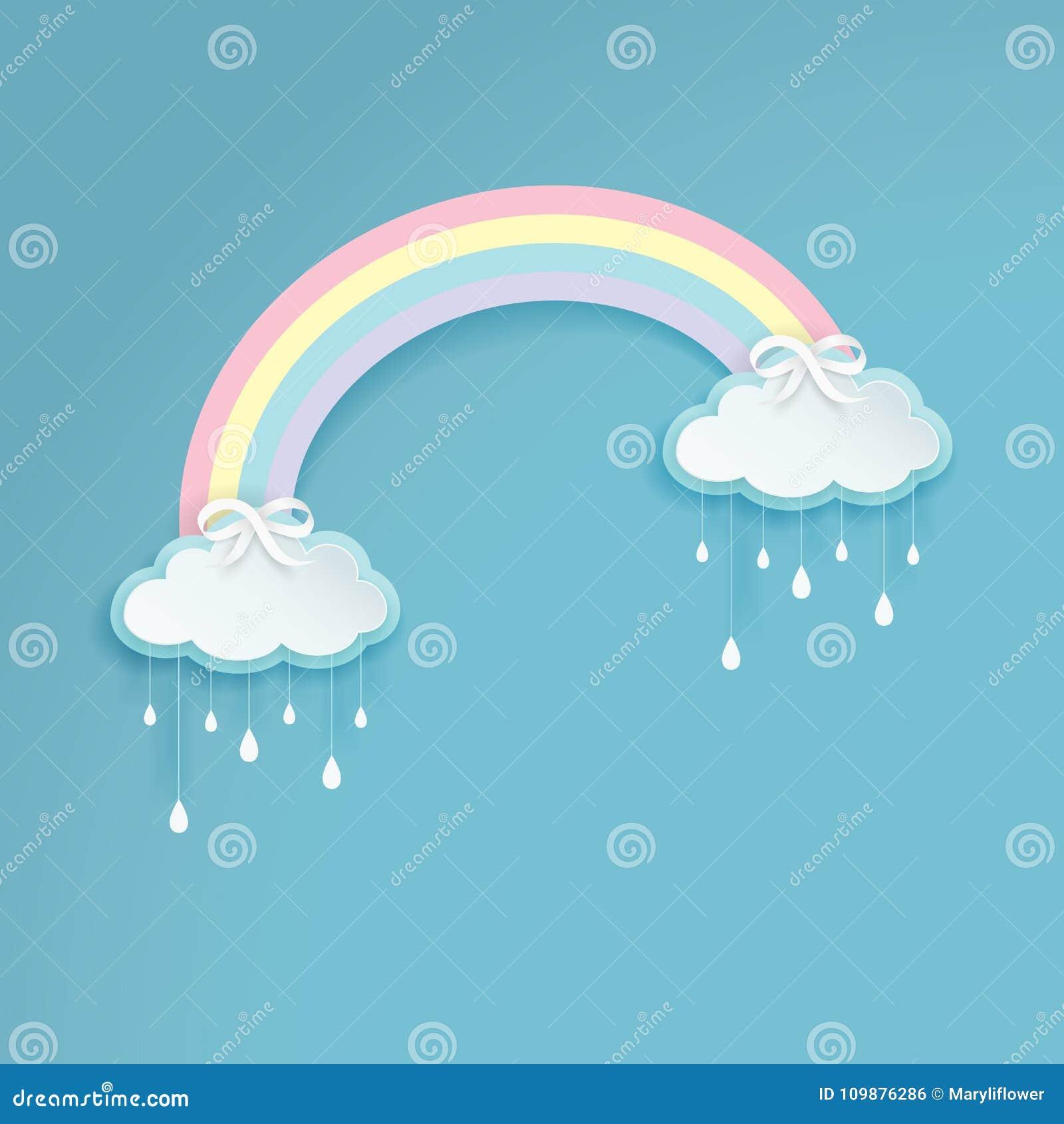 Pastelkleur gekleurde regenboog met beeldverhaal regenachtige wolken op de blauwe achtergrond Zilveren bogen met de etiketten van