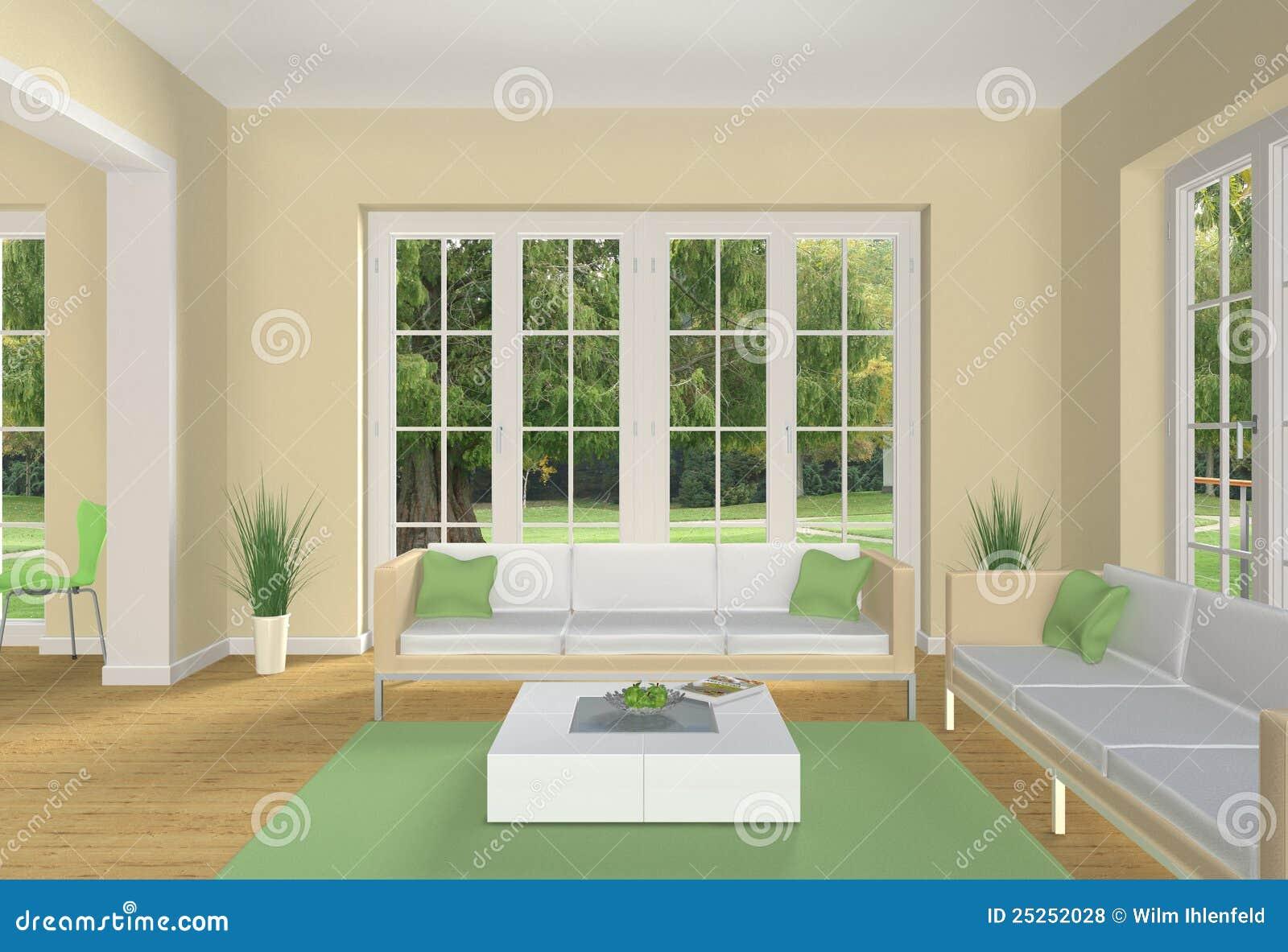 Erfundenes Wohnzimmer mit Gelb grüne Farben und Ansicht dem zu einem ...
