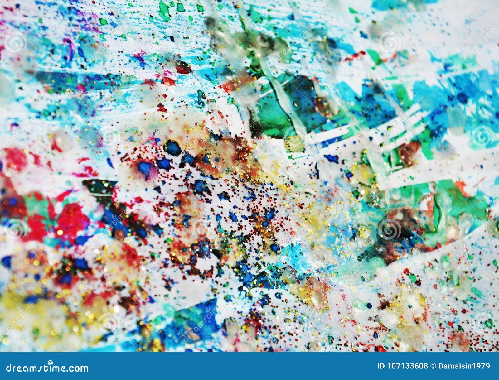 Pastellfärgad målarfärg, vaxartade fläckar, vattenfärgmålarfärg, färgrika toner