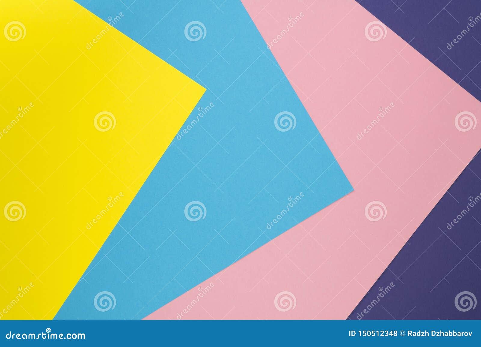 Pastellfarbpapierbeschaffenheit Kreativer geometrischer Hintergrund der flachen Lage Flache Lage