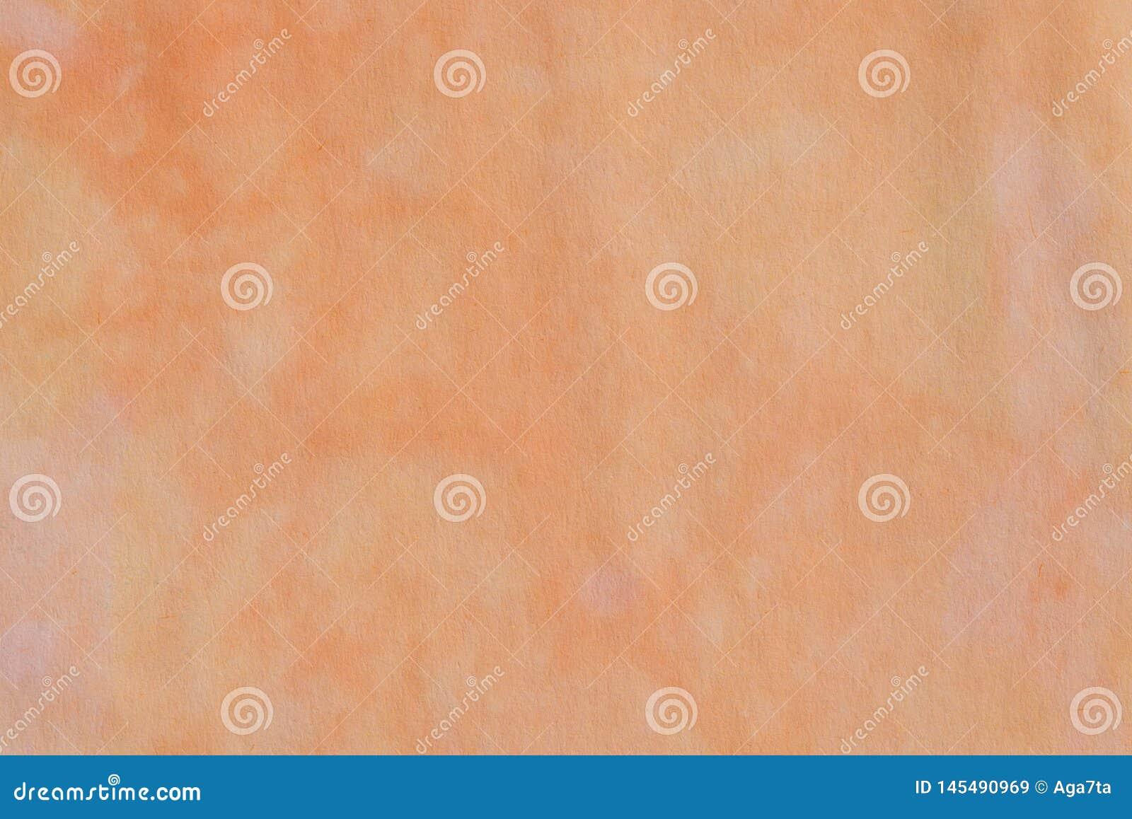 Pastello arancio dell acquerello dipinto su struttura di carta del fondo
