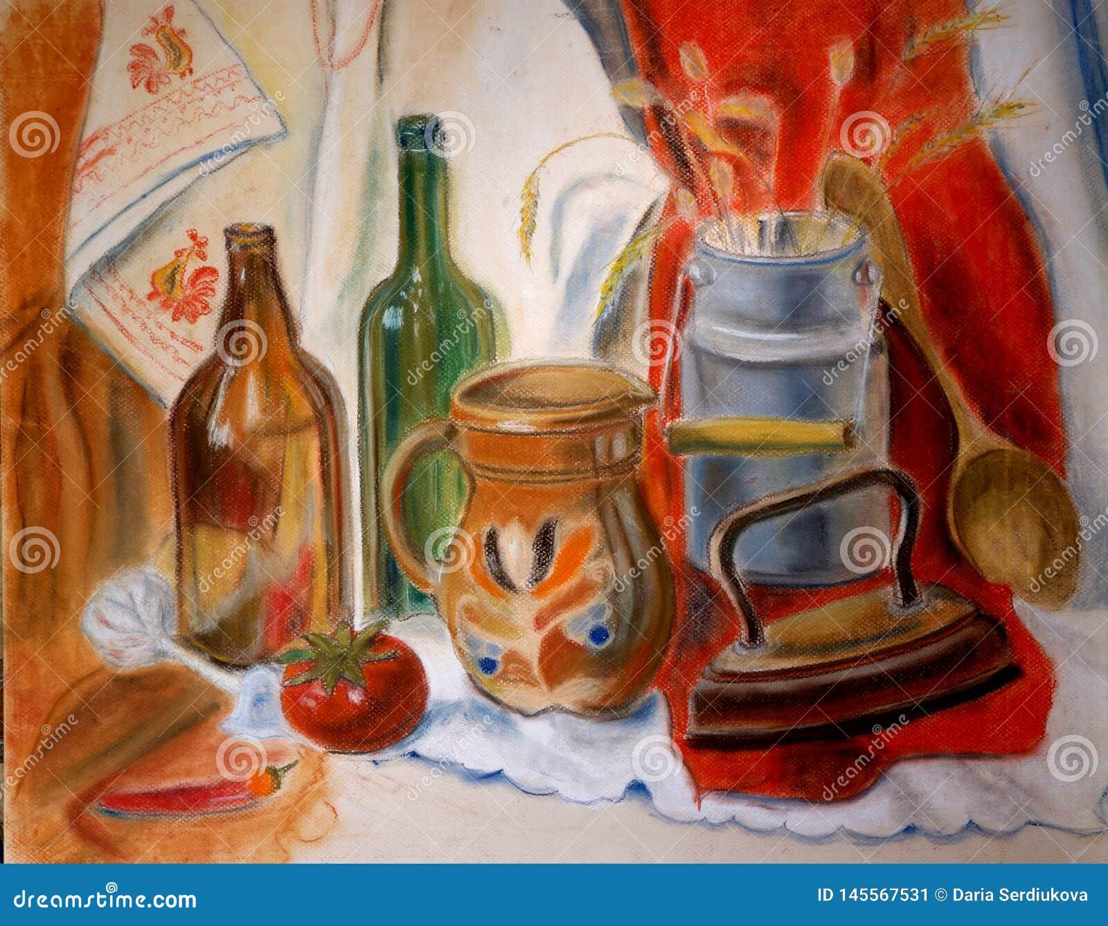 Pastellstillleben mit Glasflaschen und Eisen, rote Farben