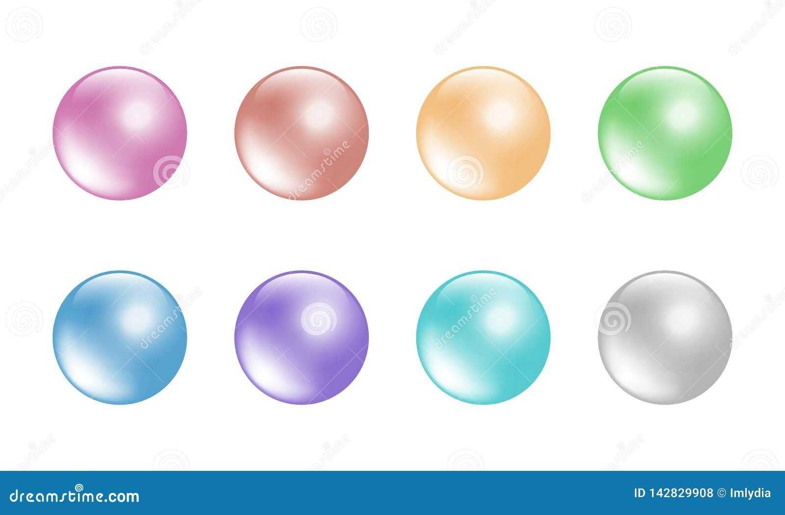 Pastelowego koloru piłki ustawiają 8 kolorów Odosobniony na białym tle