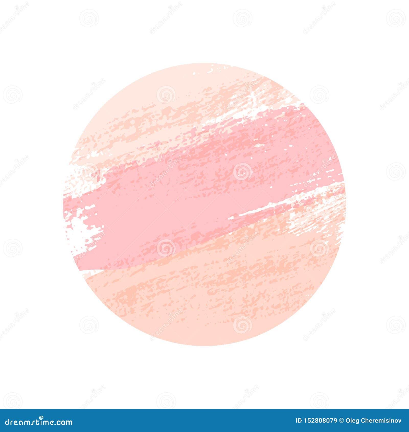 Pastelowych menchii round muśnięcia uderzenia odizolowywający na białym tle spokojnie redaguje projekt element?w wektora